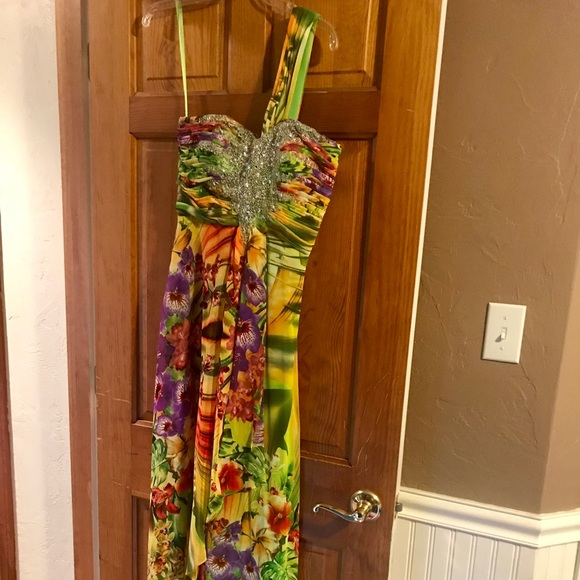 Cache Dresses | Long Tropical Print Evening Gown Size 8 | Poshmark